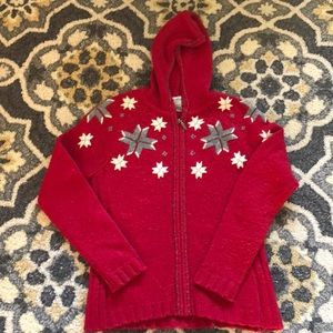 Eddie Bauer zip- up hooded snowflake sweater